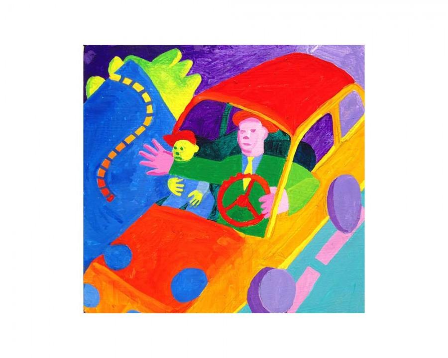 "Little Bernard Series: No. 3. 7 August 2014. Acrylic on wood panel, 10"" x 10.""   bernardgreenwald.com"