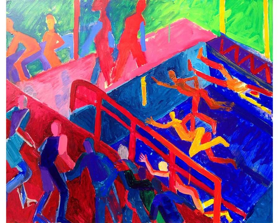 "Stephenson Gym, Bard College, No. 1. 29 March 2014. Wood on acrylic, 30"" x 40.""   bernardgreenwald.com"